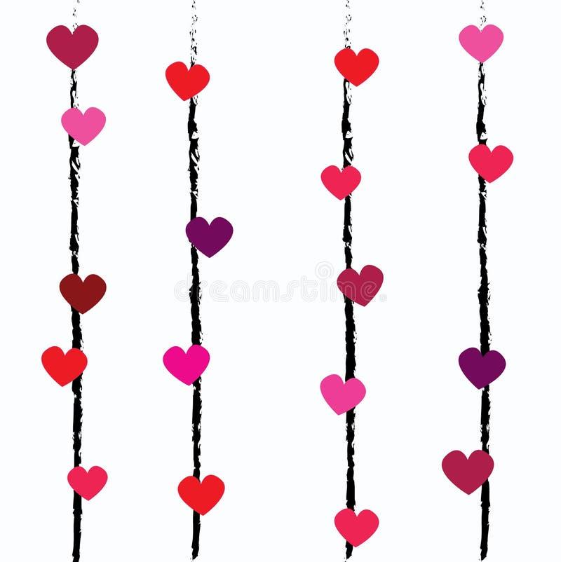 Het vector het herhalen patroon met kleine harten van verschillende kleuren op kleine strepen overhandigt getrokken, leuk en zoet royalty-vrije illustratie