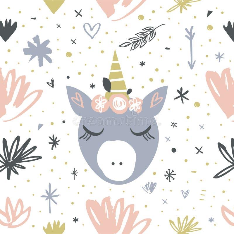 Het vector hoofdpatroon van de beeldverhaal leuke hand getrokken vlakke eenhoorn stock illustratie