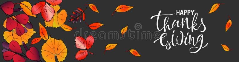 Het vector horizontale bannerthanksgiving day Van letters voorzien met bladeren royalty-vrije illustratie