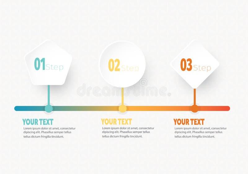 Het vector infographic Bedrijfselement voor chronologie met 3 stappen etiketteert cirkelring met gradiëntkleur vector illustratie