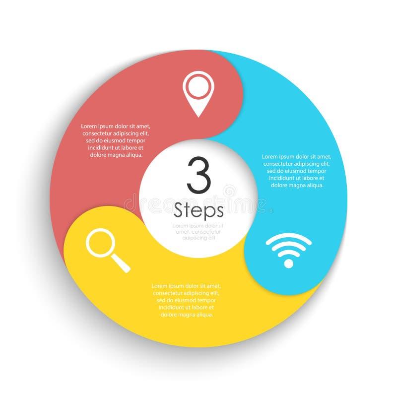 Het vector infographic malplaatje van de cirkelgrafiek voor cyclusdiagram, grafiek, Webontwerp Bedrijfsconcept met 3 stappen of o vector illustratie