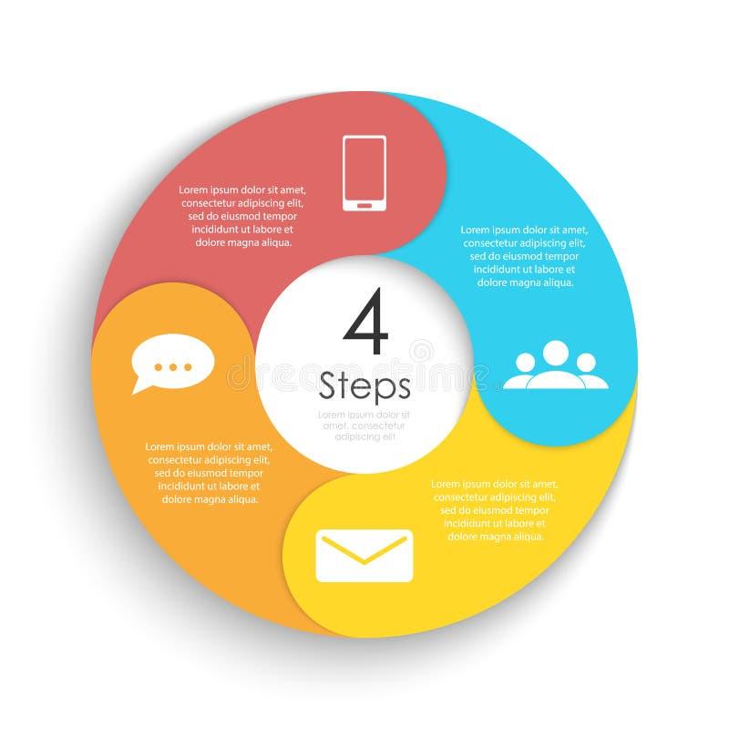 Het vector infographic malplaatje van de cirkelgrafiek voor cyclusdiagram, grafiek, Webontwerp Bedrijfsconcept met 4 stappen of o stock illustratie