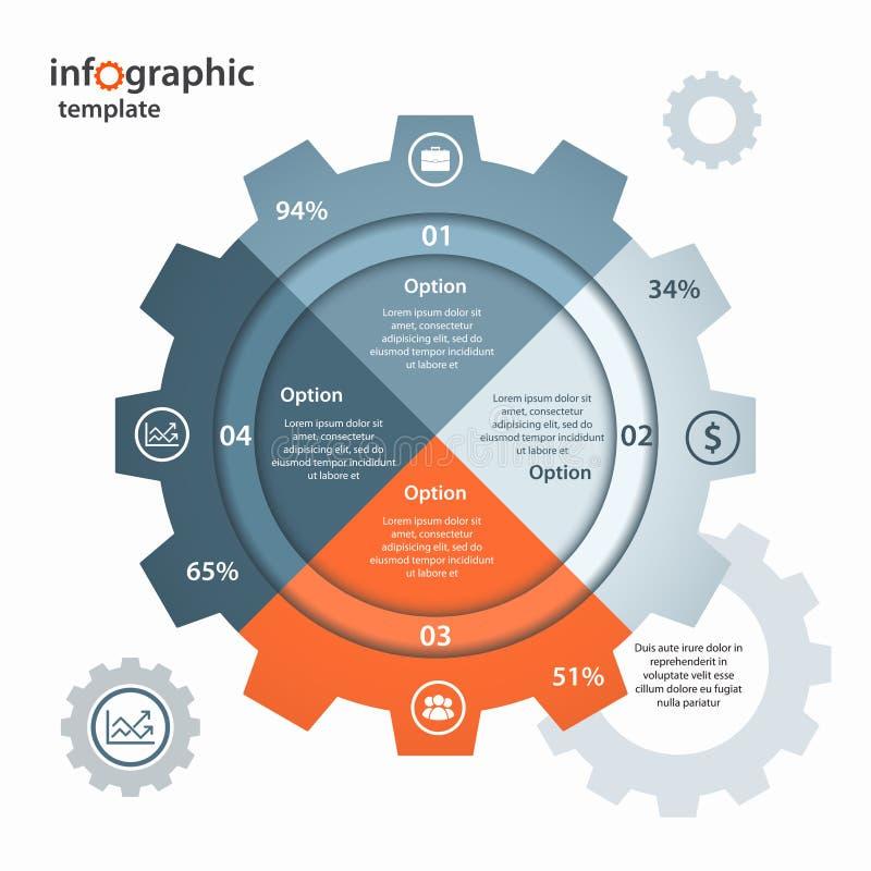 Het vector infographic malplaatje van de toestelcirkel voor zaken en de industrie stock illustratie