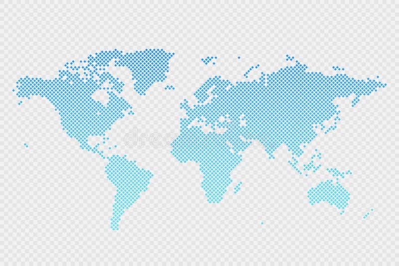 Het vector infographic symbool van de wereldkaart op transparante achtergrond Het internationale teken van de ruitillustratie royalty-vrije illustratie