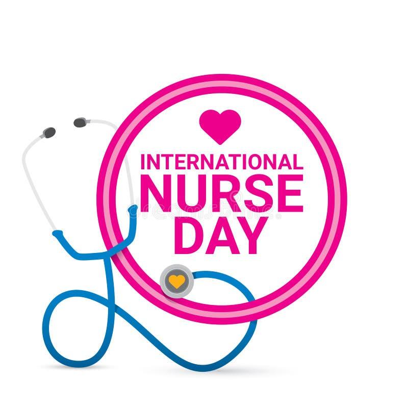 Het vector internationale vectoretiket van de verpleegstersdag royalty-vrije illustratie