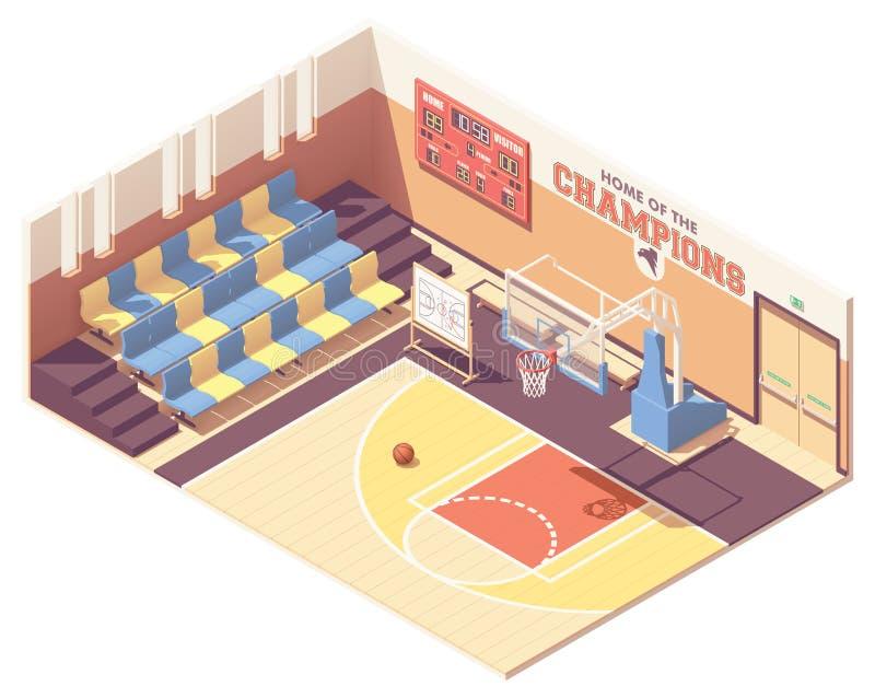 Het vector isometrische hof van het gymnasiumbasketbal royalty-vrije illustratie