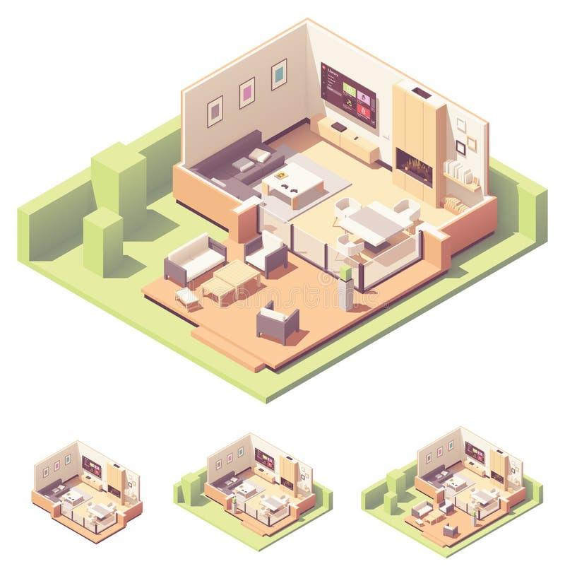 Het vector isometrische huis van de tuinzomer vector illustratie