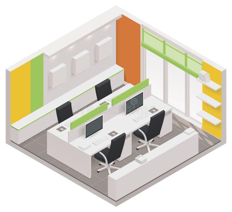 Het vector isometrische pictogram van de bureauruimte