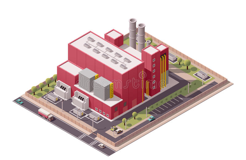 Het vector isometrische pictogram van fabrieksgebouwen