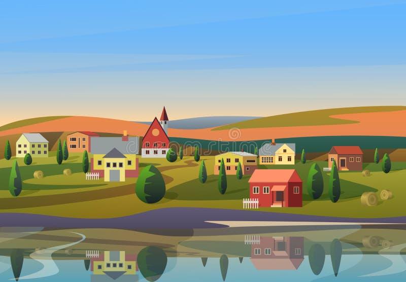 Het vector Kleine stadslandschap met huizen op kust van rivier met heuvels onder blauwe ochtend sunsrise hemel op achtergrond royalty-vrije illustratie