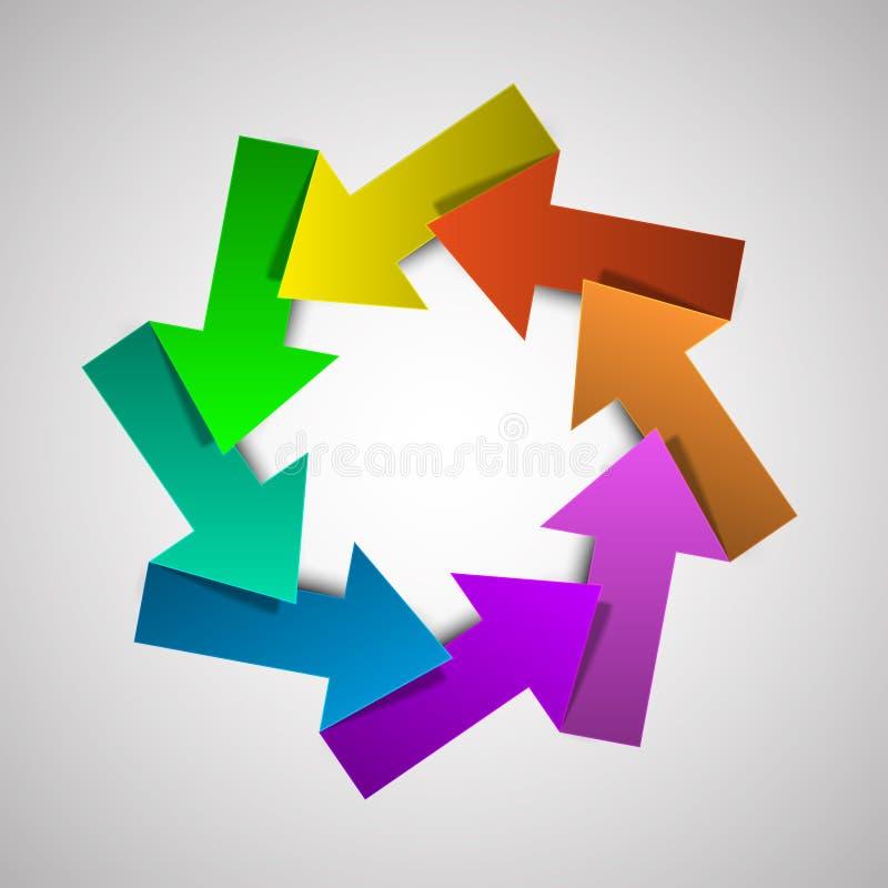 Het vector kleurrijke diagram van de het levenscyclus met pijlen royalty-vrije illustratie