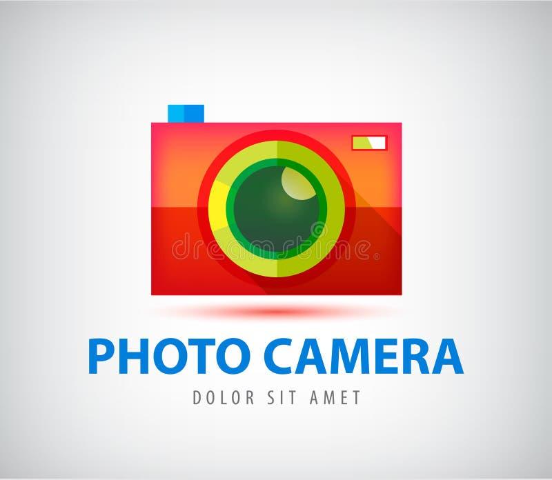 Het vector kleurrijke embleem van de fotocamera stock illustratie