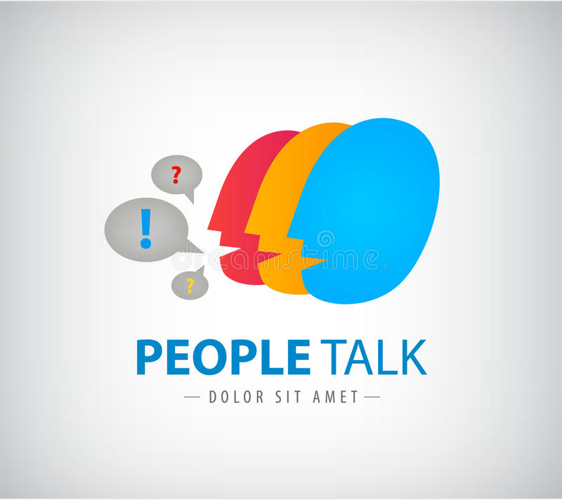 Het vector kleurrijke embleem van het mensenpraatje, pictogram stock illustratie