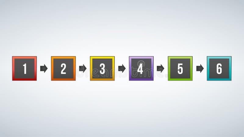 Het vector kleurrijke infographic malplaatje van de vierkantenillustratie met plaats voor uw inhoud, zes opties vector illustratie