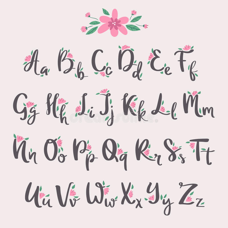 Het vector kleurrijke type van de aard kleurrijke zomer van de bloemdoopvont en het hand getrokken alfabet springen mooie flora v royalty-vrije illustratie