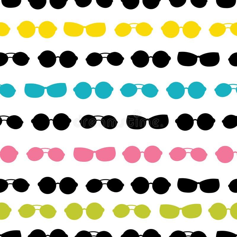 Het vector kleurrijke van de de zomervakantie van zonnebrilstrepen naadloze patroon Groot voor vakantie als thema gehade stof, be stock illustratie