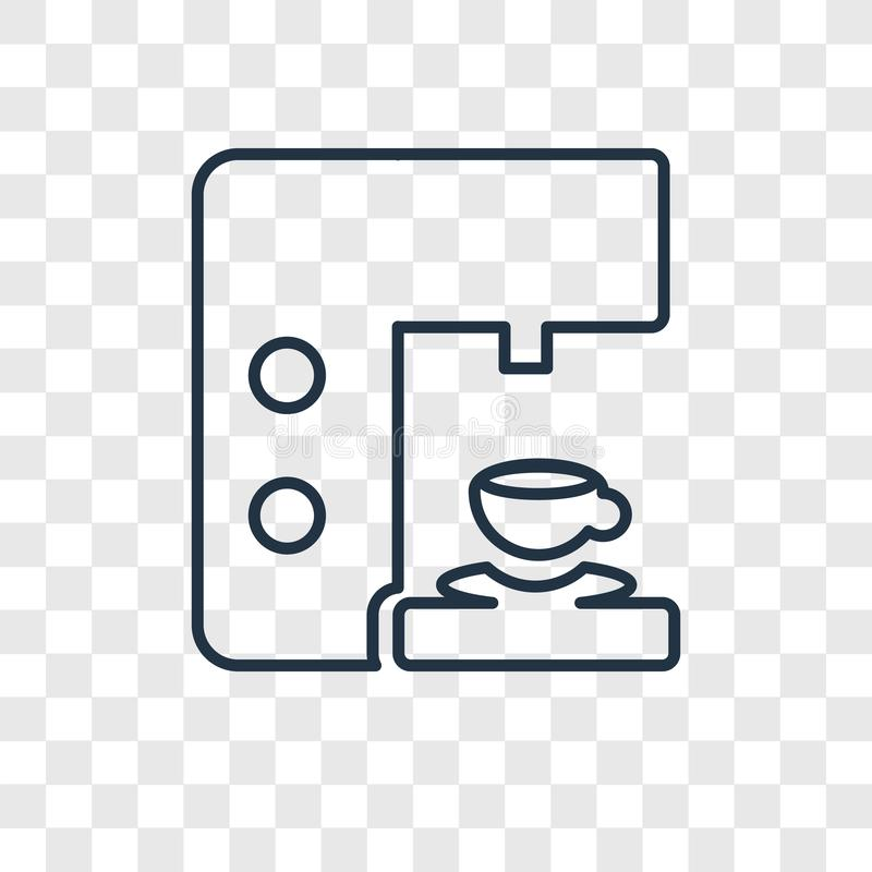 Het vector lineaire die pictogram van het koffiezetapparaatconcept op transparant wordt geïsoleerd royalty-vrije illustratie