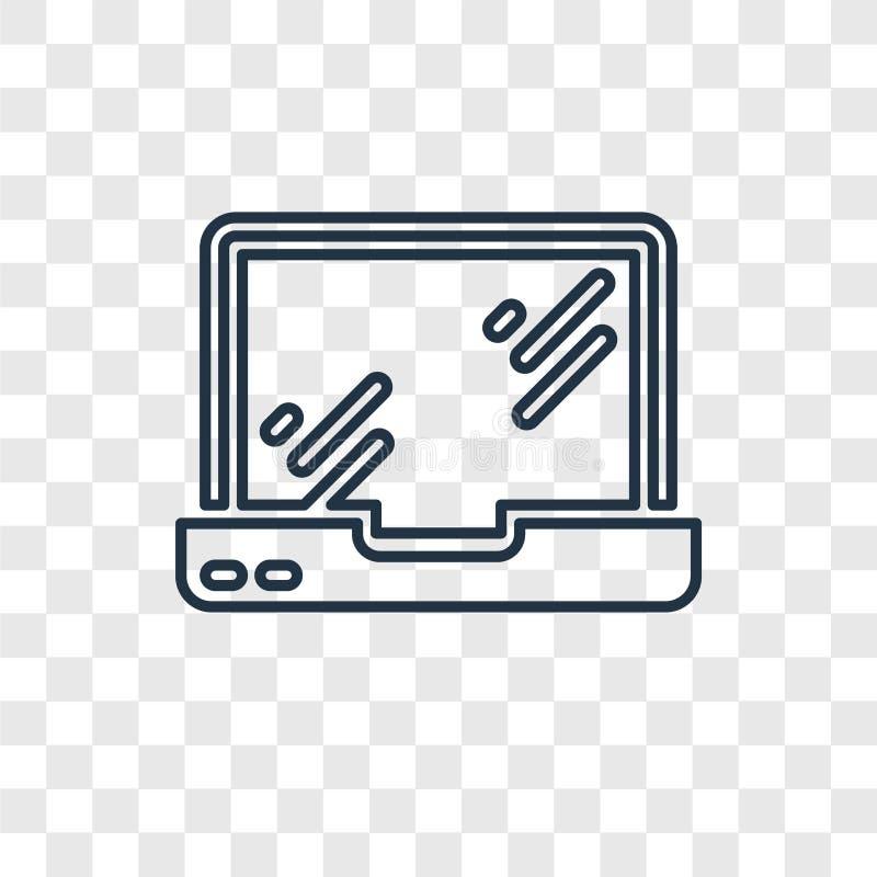 Het vector lineaire die pictogram van het Macbookconcept op transparante backg wordt geïsoleerd royalty-vrije illustratie
