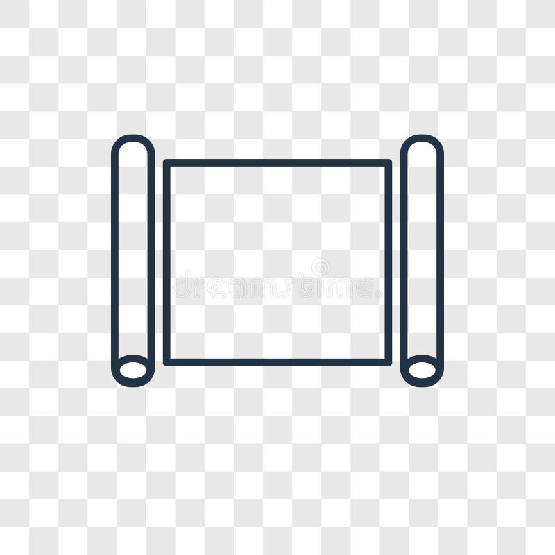 Het vector lineaire die pictogram van het perkamentconcept op transparante bac wordt geïsoleerd royalty-vrije illustratie