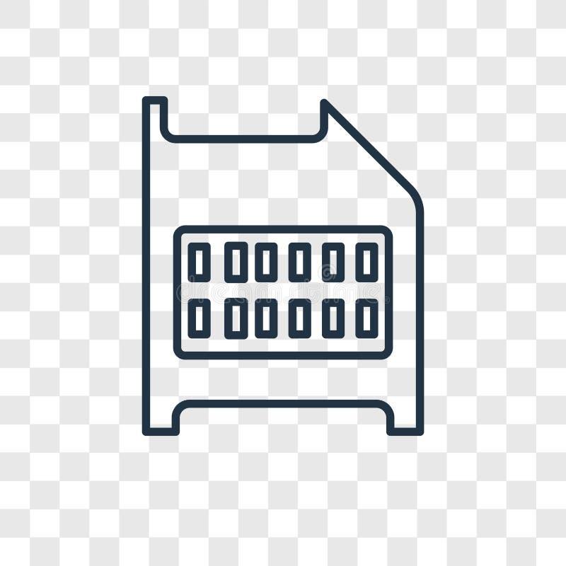 Het vector lineaire die pictogram van het SD-geheugenkaartconcept op transparante backg wordt geïsoleerd vector illustratie
