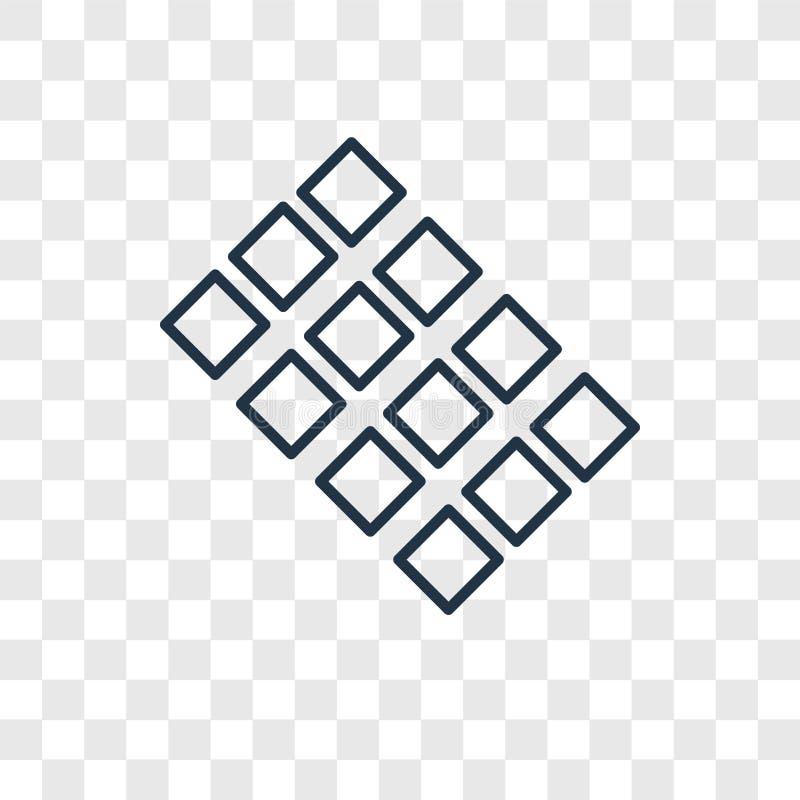 Het vector lineaire die pictogram van het tegelsconcept op transparante backgro wordt geïsoleerd stock illustratie