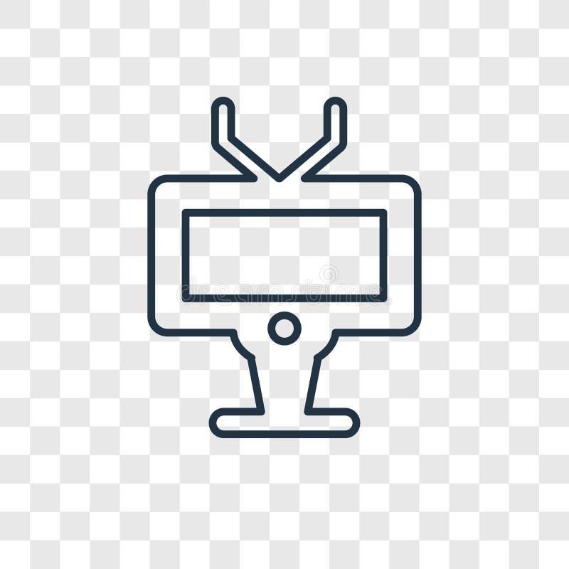 Het vector lineaire die pictogram van het televisieconcept op transparante bedelaars wordt geïsoleerd royalty-vrije illustratie
