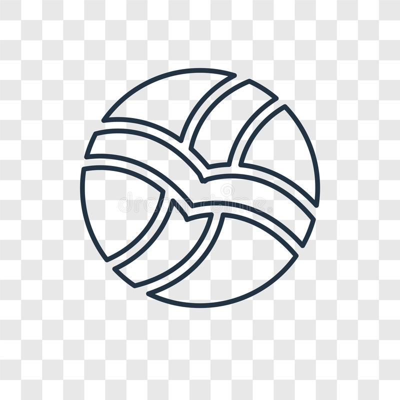 Het vector lineaire die pictogram van het volleyballconcept op transparante bedelaars wordt geïsoleerd vector illustratie