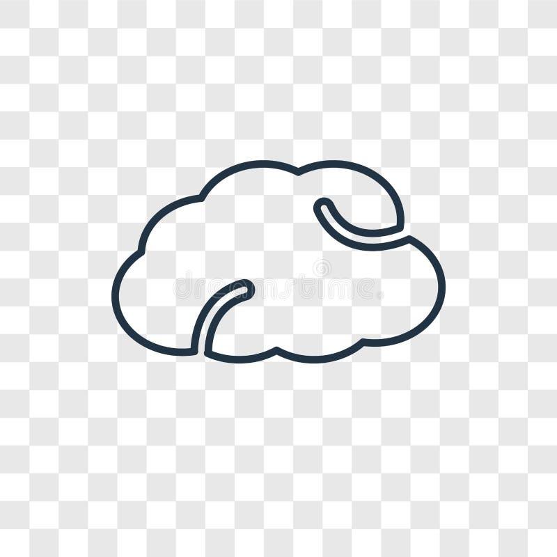 Het vector lineaire die pictogram van het wolkenconcept op transparante backgro wordt geïsoleerd vector illustratie