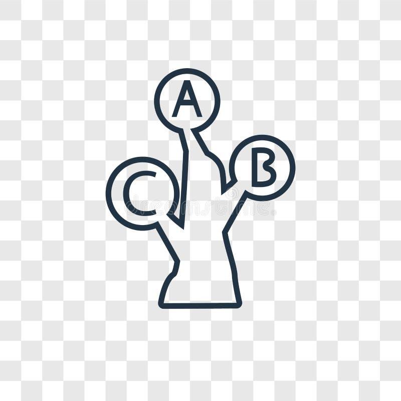 Het vector lineaire pictogram van het alfabetconcept op transparante rug royalty-vrije illustratie