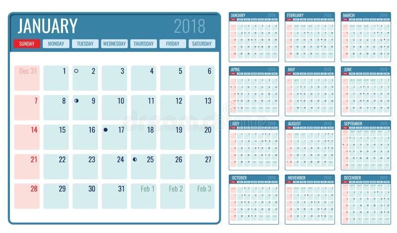Het vector maandelijkse jaar van het kalendermalplaatje 2018 vector illustratie
