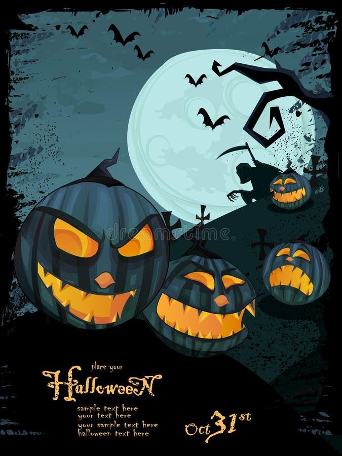 Het vector malplaatje van Halloween met nachtlandschap stock illustratie