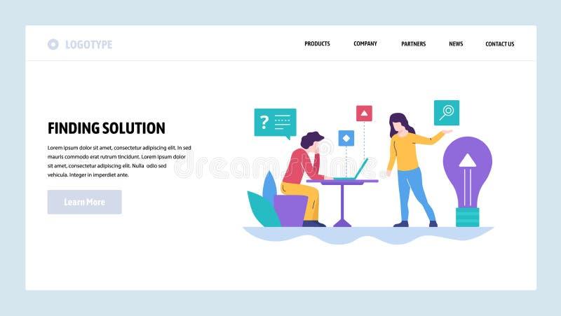Het vector malplaatje van het websiteontwerp Bedrijfsoplossing en nieuw creatief idee Landingspaginaconcepten voor website en mob vector illustratie