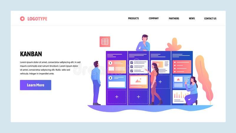 Het vector malplaatje van het websiteontwerp Behendige projectleiding en Scrumtaakraad Behendige software-ontwikkeling en Kanban stock illustratie