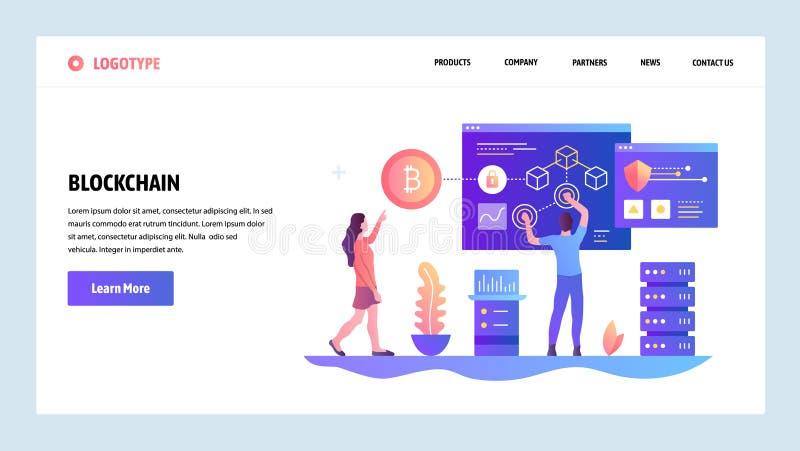 Het vector malplaatje van het websiteontwerp Blockchain en cryptocurrencytechnologie Bitcoin Het landen paginaconcepten voor webs stock illustratie