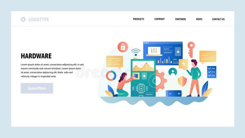 Het vector malplaatje van het websiteontwerp Computerhardware en geïntegreerde schakeling Met blauwe tint Het landen paginaconcep stock illustratie