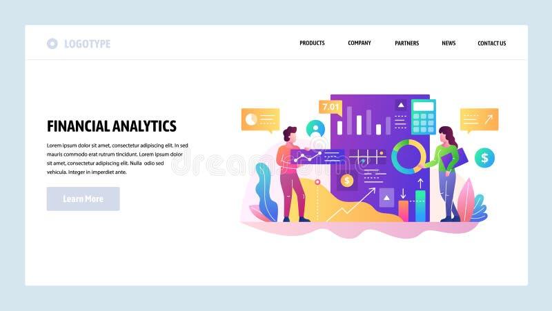 Het vector malplaatje van het websiteontwerp Financieel analytics en bedrijfsrapport, gegevens onderzoek en financiëngrafieken La vector illustratie