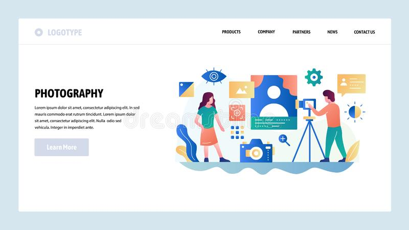 Het vector malplaatje van het websiteontwerp Fotostudio, de fotografiedienst, digitale camera Het landen paginaconcepten voor web vector illustratie
