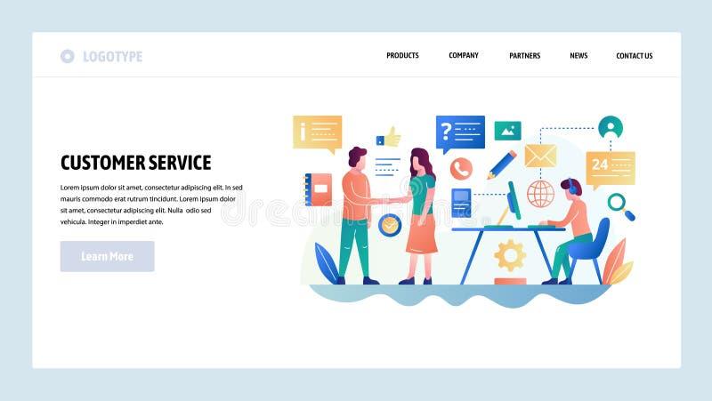Het vector malplaatje van het websiteontwerp Klantenservice en onlineondersteuningpraatje, helpdesk, verkoop Het landen paginacon vector illustratie