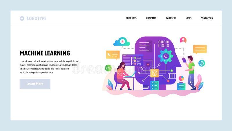 Het vector malplaatje van het websiteontwerp Machine het leren en AI kunstmatige intellegence, robottechnologie, grote gegevenswe royalty-vrije illustratie