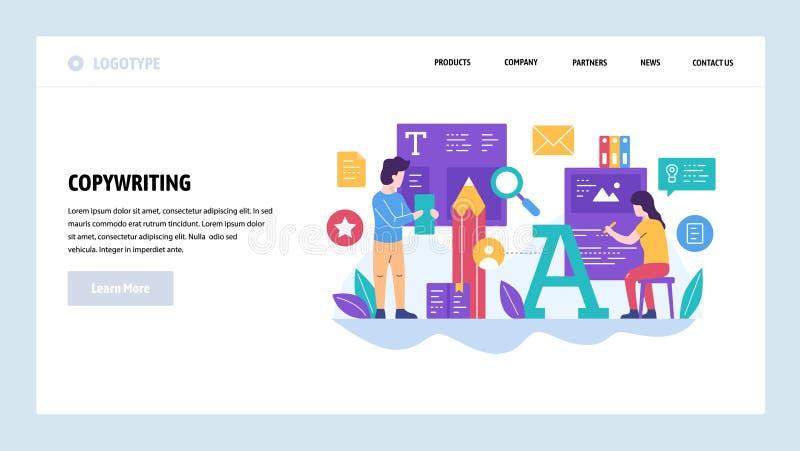 Het vector malplaatje van het websiteontwerp Media, pers en journalistartikel, schrijver, tekstschrijver, typografie Landende Pag royalty-vrije illustratie