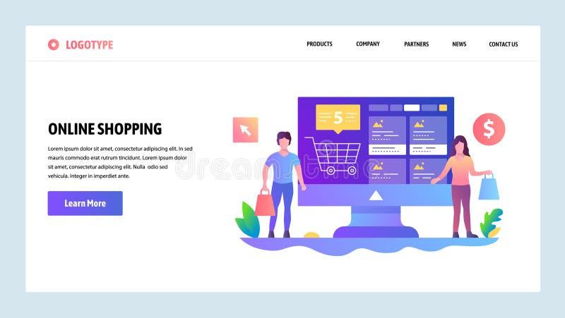 Het vector malplaatje van het websiteontwerp Online winkelend, Internet-opslag Landingspaginaconcepten voor website en mobiel royalty-vrije illustratie