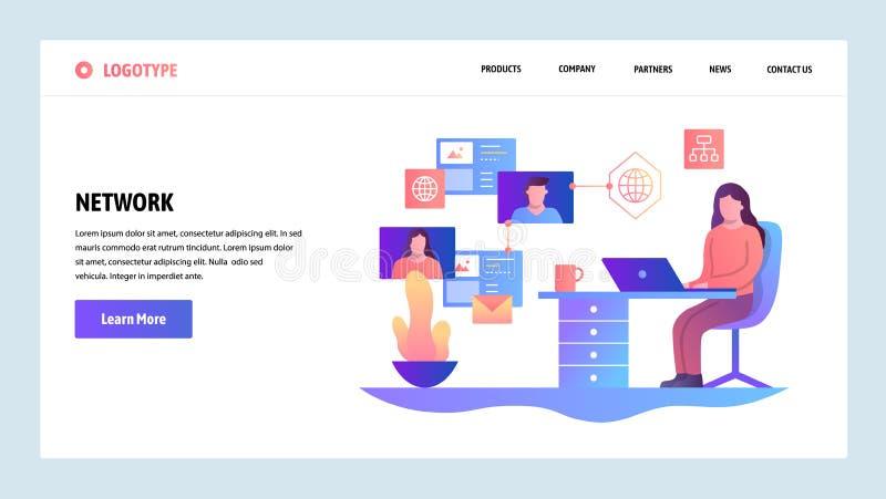 Het vector malplaatje van het websiteontwerp Sociaal media netwerk, overseinen en online voorzien van een netwerk Het landen pagi vector illustratie