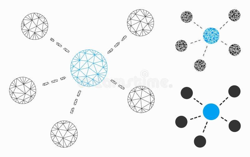 Het Vector Model van het Netwerk van het Netwerk van de verbindingen en het Mozaïekpictogram van de Driehoek stock illustratie