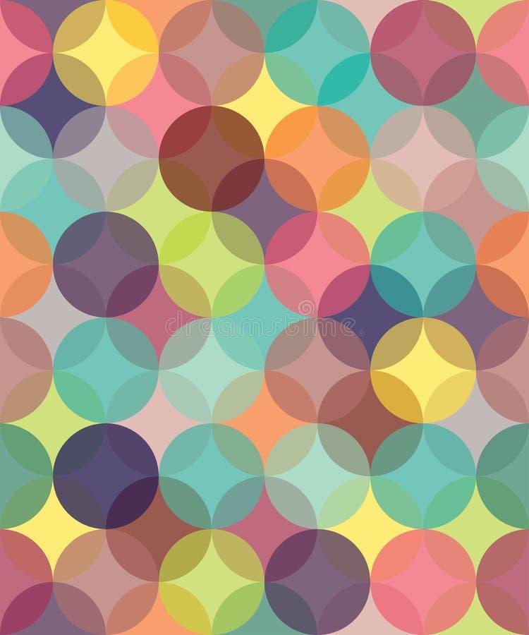 Het vector moderne naadloze kleurrijke de cirkels van het meetkundepatroon overlappen royalty-vrije illustratie