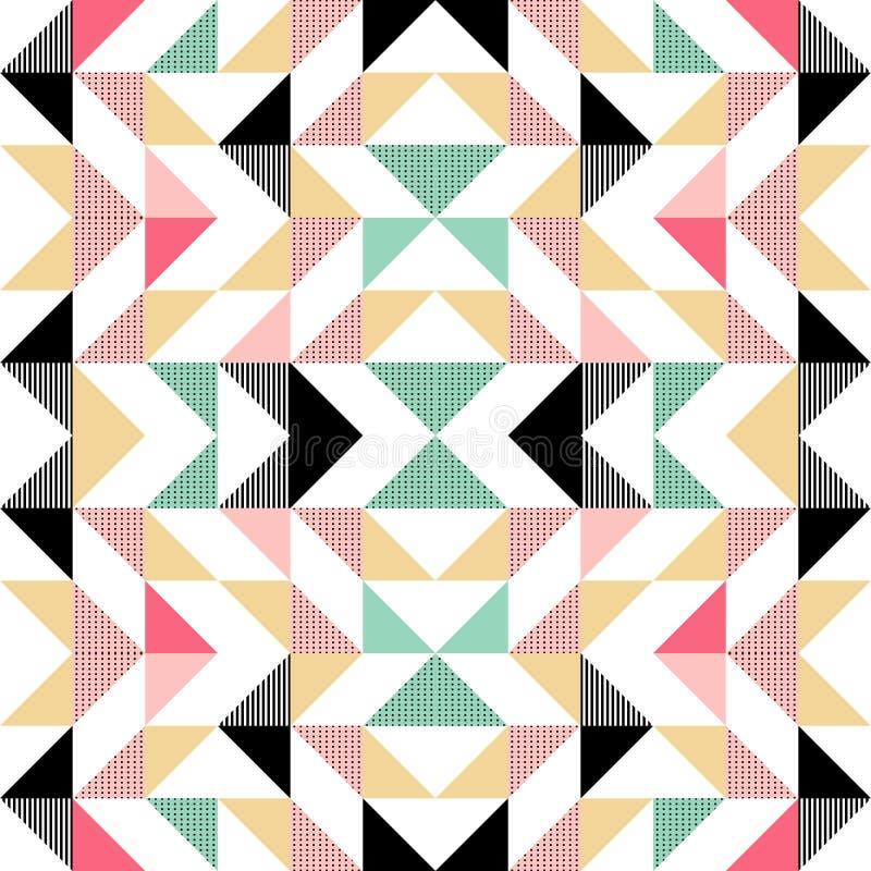 Het vector moderne naadloze kleurrijke patroon van de meetkundedriehoek, kleuren abstracte geometrische achtergrond, retro hoofdk royalty-vrije illustratie