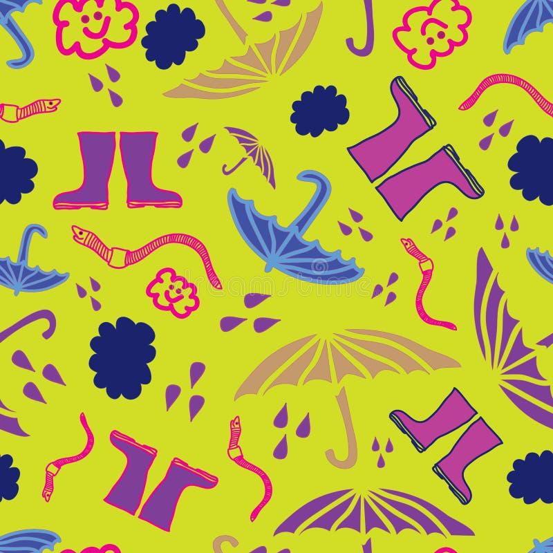 Het vector moderne regenpatroon op gele achtergrond die paraplu's, regen bevatten daalt, aardworm vector illustratie