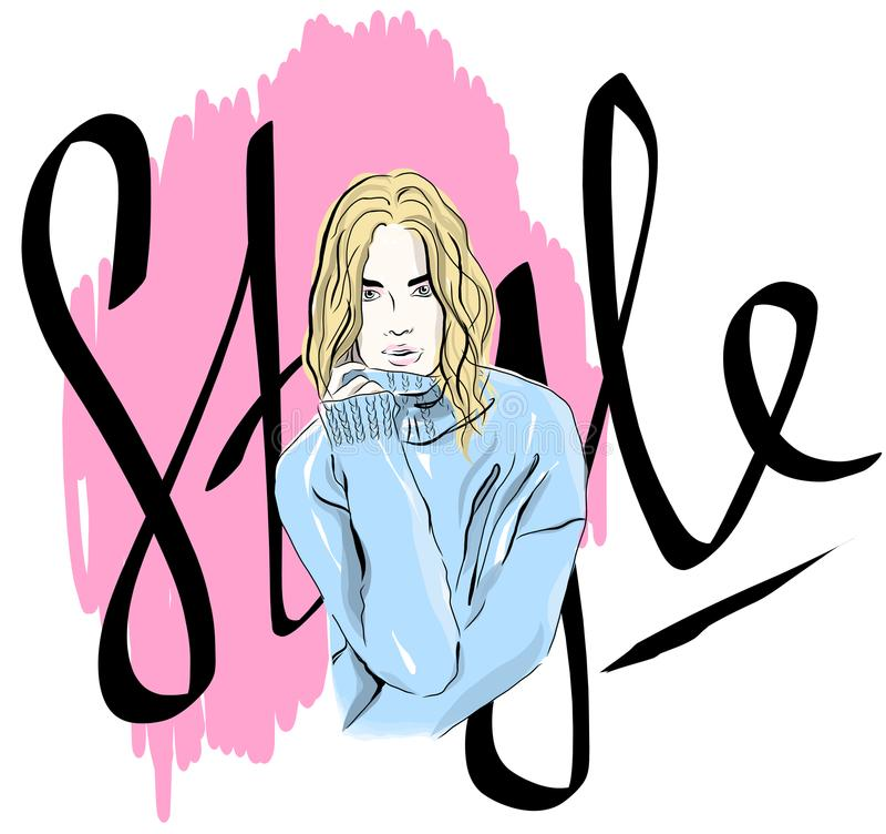 Het vector mooie maniermeisje kleedde zich in een sweater, kleurenschets, manierillustratie, affiche, banner, pamflet, groetkaart royalty-vrije illustratie