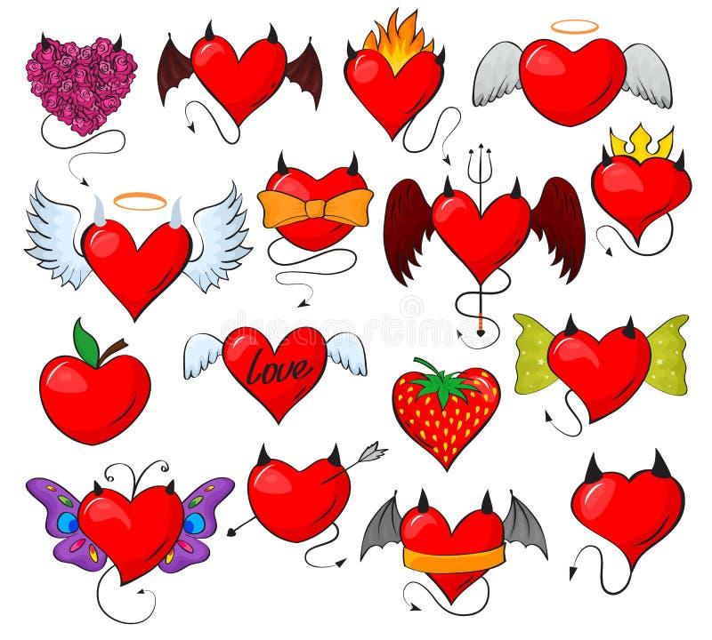 Het vector mooie rode liefje van het duivelshart met hoornenvleugels bij het houden van van de de kaartillustratie van de valenti royalty-vrije illustratie