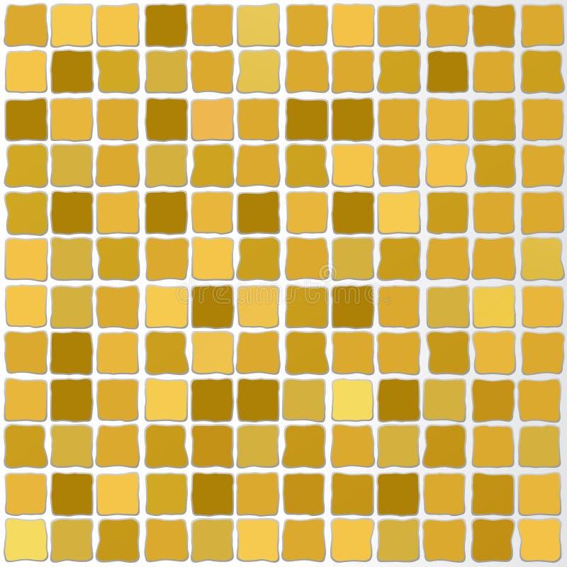 Het vector mozaïek betegelt gouden kleur stock illustratie