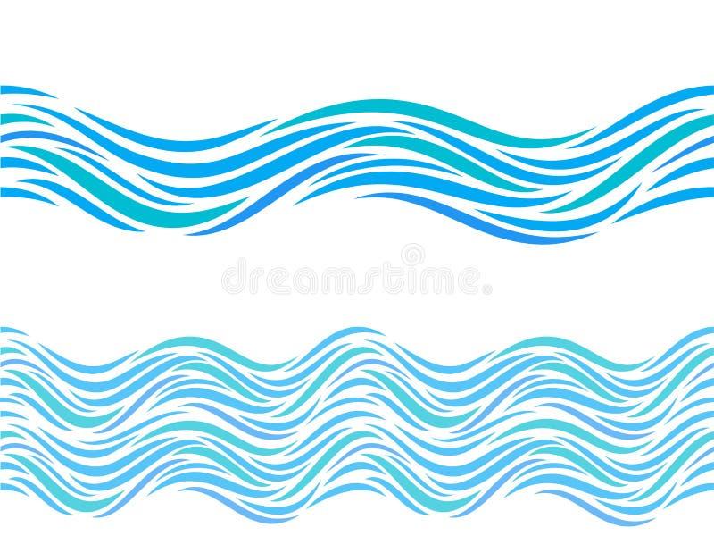 Het vector naadloos patroon van watergolven of tatoegeringsornament royalty-vrije illustratie